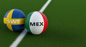 Mexico vs. Sweden Soccer Match - Soccer balls in Mexicos and Swedens national colors on a soccer field. Copy space on the right side - 3D Rendering Stock Photography
