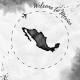 Mexico watercolor map in black colors. Welcome to Mexico poster with airplane trace and handpainted watercolor Mexico map on crumpled paper. Vector Royalty Free Stock Images