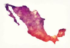 Mexico watercolor map in front of a white background stock photos