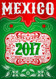 2017 Mexico western style poster - holiday mexican cowboy template Royalty Free Stock Photo
