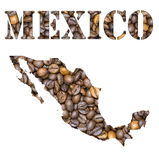 Mexico word and country map shaped with coffee beans background. Roasted brown coffee beans background with the shape of the word Mexico and the country Stock Photography