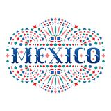 Mexico word and Mexican embroidery motif. Festive design element with fiesta style folk art pattern. Western shapes of text. Colorful ethnic vector design royalty free illustration