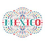 Mexico word and ornate Mexican embroidery motif. Festive design element with fiesta style folk art pattern. Western shapes of text. Colorful ethnic vector stock illustration