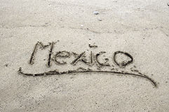 Mexico written in sand Stock Photography