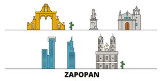 Mexico, Zapopan flat landmarks vector illustration. Mexico, Zapopan line city with famous travel sights, skyline, design. Mexico, Zapopan flat landmarks vector stock illustration