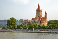 Mexicoplatz church. On Danube River, Vienna, Austria Stock Photography