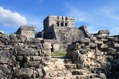 MexicoTulum ruined Mayan temple stock photos