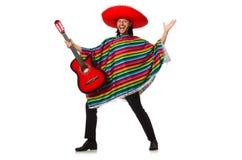 Mexikan i den hållande gitarren för livlig poncho som isoleras på arkivfoton