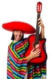 Mexikan i den hållande gitarren för livlig poncho som isoleras på royaltyfri fotografi
