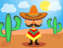 Mexikan i en sombrero Arkivbild