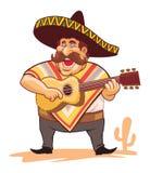 Mexikan med sombreron och gitarren Arkivfoto