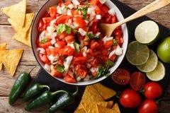 Mexikan pico de gallo från tomater, lökar, koriander och jalape royaltyfri bild