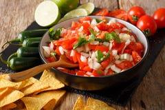 Mexikan pico de gallo från tomater, lökar, koriander och jalape royaltyfria foton