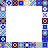 Mexikan stiliserad talavera tegelplattaram i den blå apelsinen och vit, vektor Royaltyfri Fotografi