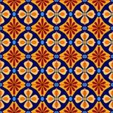 Mexikanen stiliserade talavera belägger med tegel den sömlösa modellen i blått och guling, vektor Royaltyfria Foton