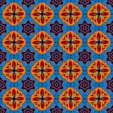 Mexikanen stiliserade talavera belägger med tegel den sömlösa modellen i blått och rött, vektor Arkivbild