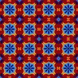 Mexikanen stiliserade talavera belägger med tegel den sömlösa modellen i blått och rött, vektor Royaltyfri Foto