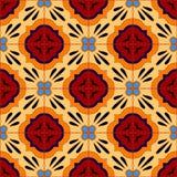 Mexikanen stiliserade talavera belägger med tegel den sömlösa modellen i blått och rött, vektor Fotografering för Bildbyråer