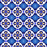 Mexikanen stiliserade talavera belägger med tegel den sömlösa modellen i blått och vit, vektor vektor illustrationer