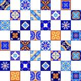 Mexikanen stiliserade talavera belägger med tegel den sömlösa modellen i den blå apelsinen och vit, vektor Royaltyfria Bilder