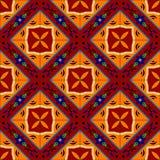 Mexikanen stiliserade talavera belägger med tegel den sömlösa modellen i rött och gult, vektor Fotografering för Bildbyråer