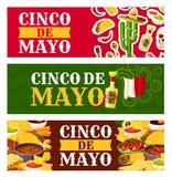 Mexikaner-Cinco de Mayo-Feiertagslebensmittel-Grußfahne Lizenzfreie Stockfotografie