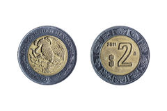 Mexikanermünze mit zwei Pesos stockfoto