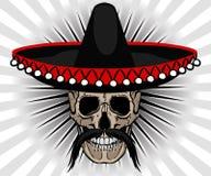 Mexikanische Art des Schädels mit Sombrero und dem Schnurrbart Stockfotos