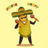 Mexikanische Fiesta-Partei-Einladung mit dem mexikanischen Mann, der die maracas in einem Sombrero spielt Hand gezeichnetes Vekto Lizenzfreie Stockfotos