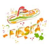 Mexikanische Fiesta-Partei-Einladung mit Sombrero Hand gezeichnetes Vektorillustrationsplakat Stockfoto