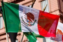 Mexikanische Flagge, die auf Gebäudehintergrund spinnt Lizenzfreies Stockbild