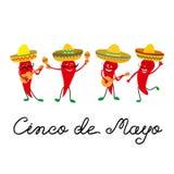 Mexikanische Grußkarte Cinco de Mayos mit und netter rote Pfeffer Jalapeno im Sombrero, Gitarre und mit maracas lizenzfreie abbildung