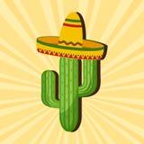 Mexikanische Karte Kaktus im Sombrero Auch im corel abgehobenen Betrag vektor abbildung