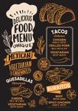 Mexikanische Lebensmittelmenüschablone für Restaurant mit Chefhut letteri Stock Abbildung