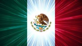Mexikanische Markierungsfahne mit hellen Strahlen Stockbild