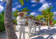 Mexikanische Musik-Band, die an der Hochzeit spielt lizenzfreie stockfotografie