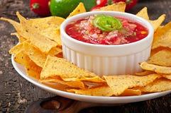 Mexikanische Nachochips und Salsabad Lizenzfreies Stockbild