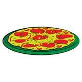 Mexikanische Pizza mit Pfeffer des roten Paprikas, Tomaten, grünen Paprikas und Frühlingszwiebeln auf einer grünen Platte Stockbild