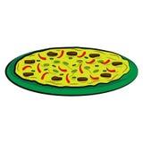 Mexikanische Pizza mit Pfeffer des roten Paprikas, Tomaten, grünen Paprikas und Frühlingszwiebeln auf einer grünen Platte Lizenzfreie Stockfotos