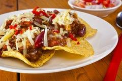 Mexikanische Rindfleisch Nachos Stockbild