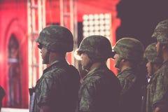 Mexikanische Soldaten an der Unabhängigkeitsfeier Stockbilder