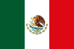 Mexikanische Staatsflagge mit Wiedergabe Eagle Coat Of Armss 3D lizenzfreie abbildung