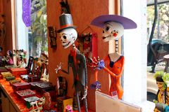 Mexikanische Zahl Skelette, Tag Dias de Los Muertos des Todes tot stockfotografie
