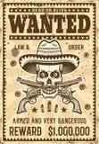 Mexikanischer Banditsch?del im Sombrerosteckbrief lizenzfreie abbildung