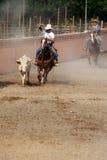Mexikanischer charros Cowboy, der einen Stier, TX, US lassoing ist Lizenzfreie Stockfotografie