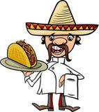 Mexikanischer Chef mit Tacokarikaturillustration Lizenzfreie Stockbilder