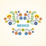 Mexikanischer ethnischer Blumenrahmen - Grenzdesign stock abbildung