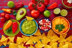 Mexikanischer Lebensmittel Nachosguacamole pico Gallo-Käse stockbild