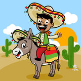 Mexikanischer Mann, der einen Esel in der Wüste reitet stock abbildung