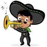 Mexikanischer Mariachi bemannen das Spielen der Trompete lizenzfreie abbildung